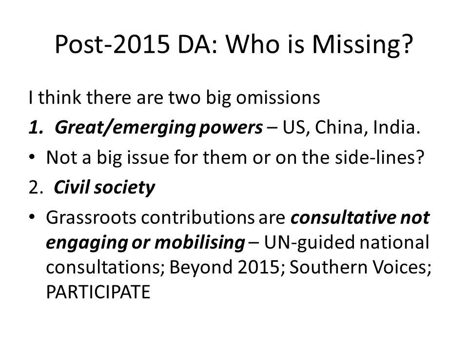 Post-2015 DA: the consequences.