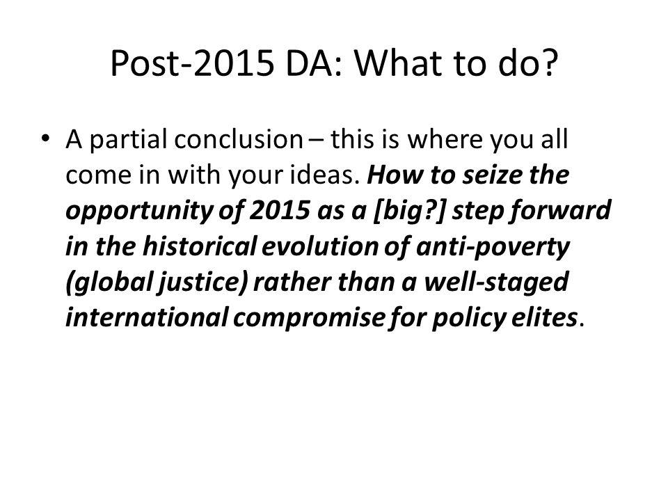 Post-2015 DA: What to do.