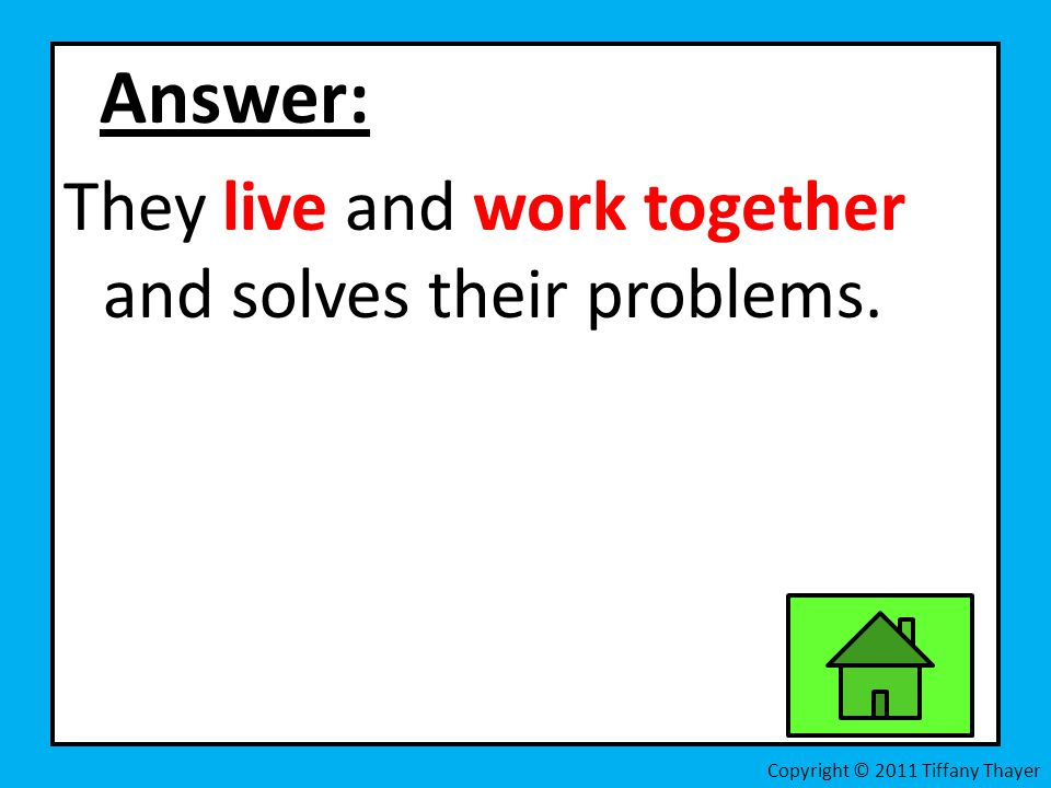 Answer: They live and work together and solves their problems. Copyright © 2011 Tiffany Thayer