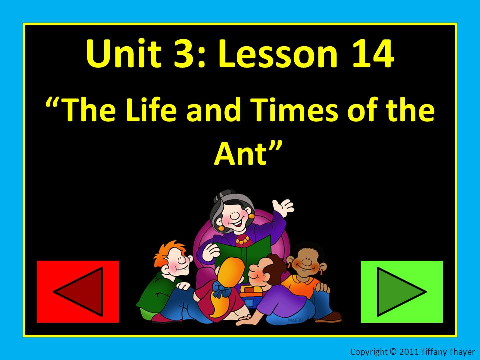Unit 3: Lesson 14 The Life and Times of the Ant Copyright © 2011 Tiffany Thayer