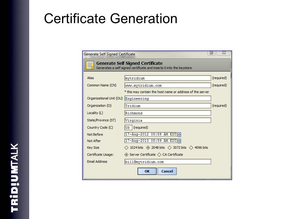 Certificate Generation