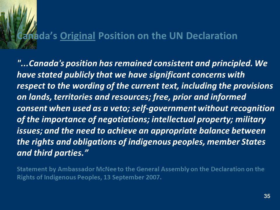 Canadas Original Position on the UN Declaration