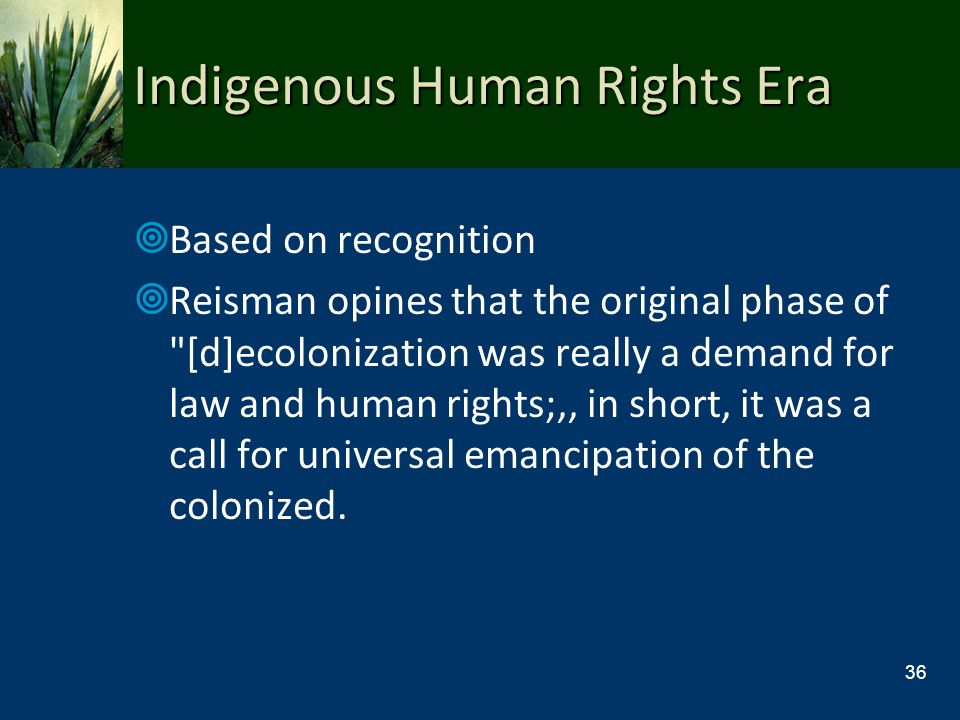 Indigenous Human Rights Era Based on recognition Reisman opines that the original phase of