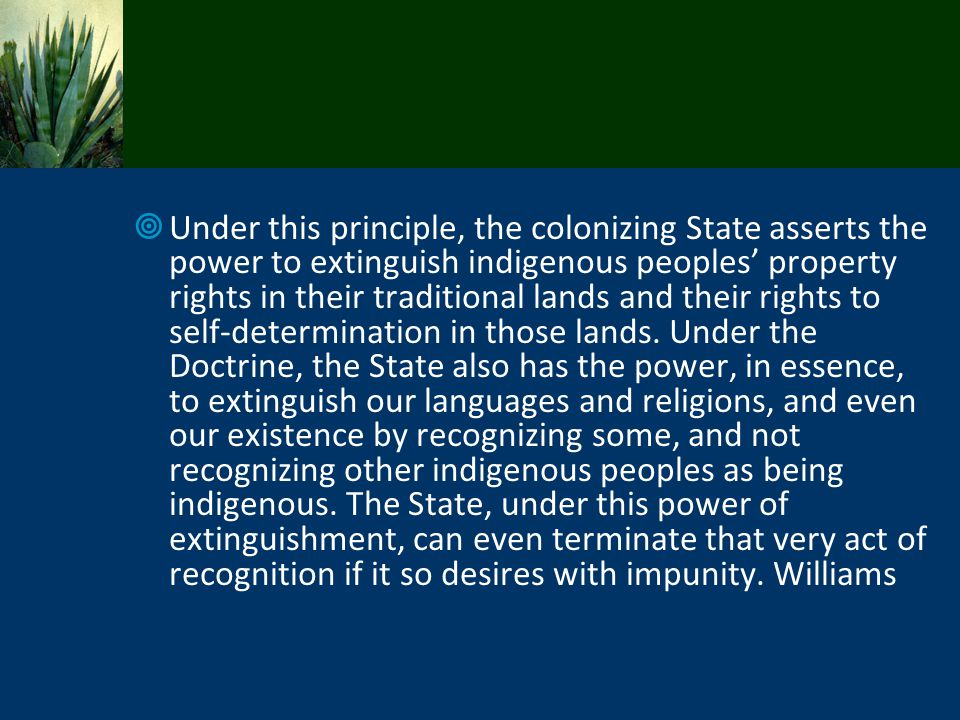 Under this principle, the colonizing State asserts the power to extinguish indigenous peoples property rights in their traditional lands and their rig