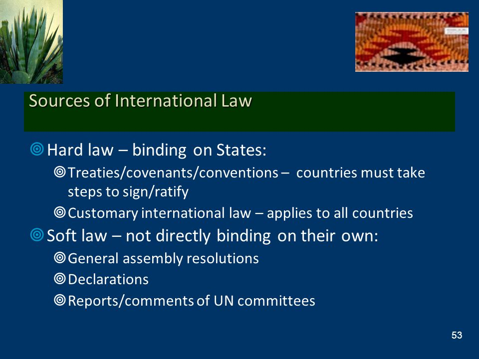 Sources of International Law Hard law – binding on States: Treaties/covenants/conventions – countries must take steps to sign/ratify Customary interna