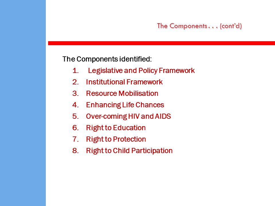 The Components identified: 1. Legislative and Policy Framework 2.Institutional Framework 3.Resource Mobilisation 4.Enhancing Life Chances 5.Over-comin