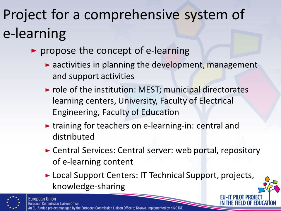 Project for a comprehensive system of e-learning propose the concept of e-learning aactivities in planning the development, management and support act