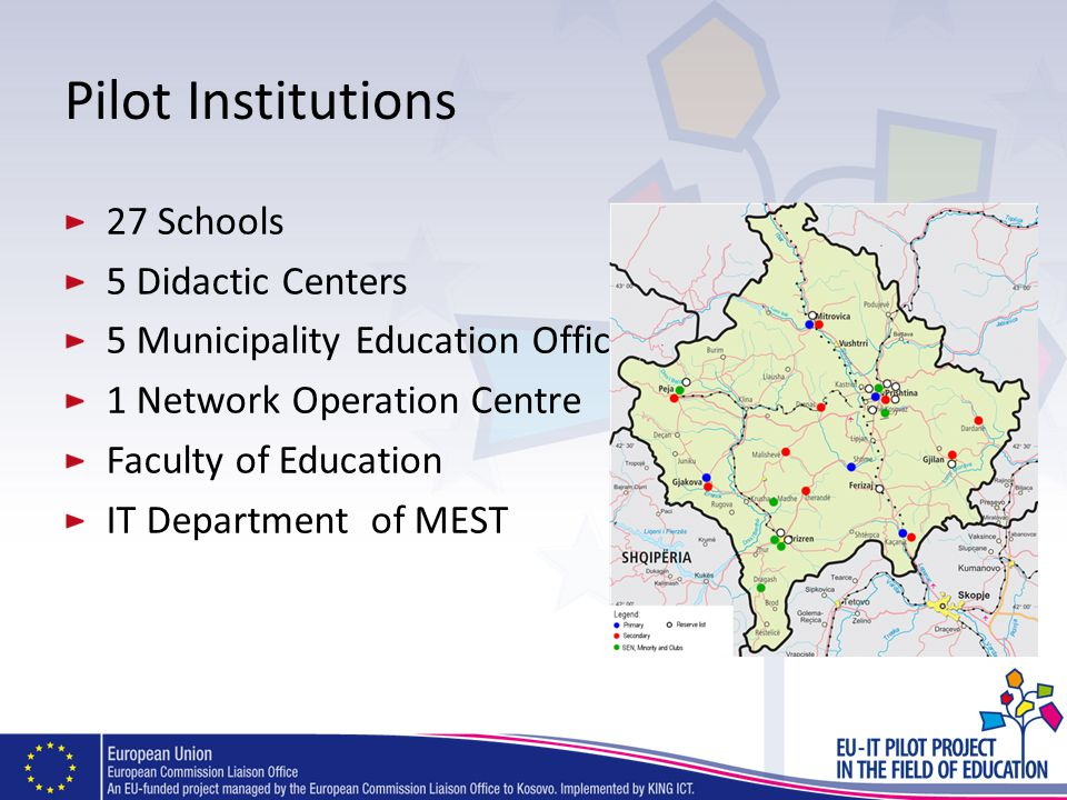 Pilot Institutions 27 Schools 5 Didactic Centers 5 Municipality Education Offices 1 Network Operation Centre Faculty of Education IT Department of MES