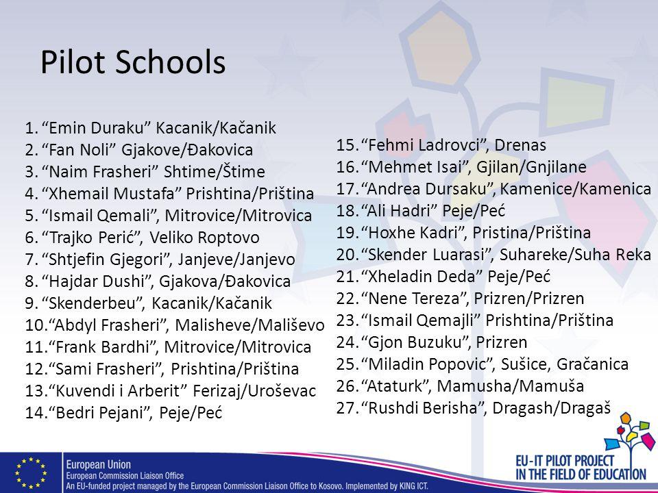 Pilot Schools 1.Emin Duraku Kacanik/Kačanik 2.Fan Noli Gjakove/Đakovica 3.Naim Frasheri Shtime/Štime 4.Xhemail Mustafa Prishtina/Priština 5.Ismail Qem