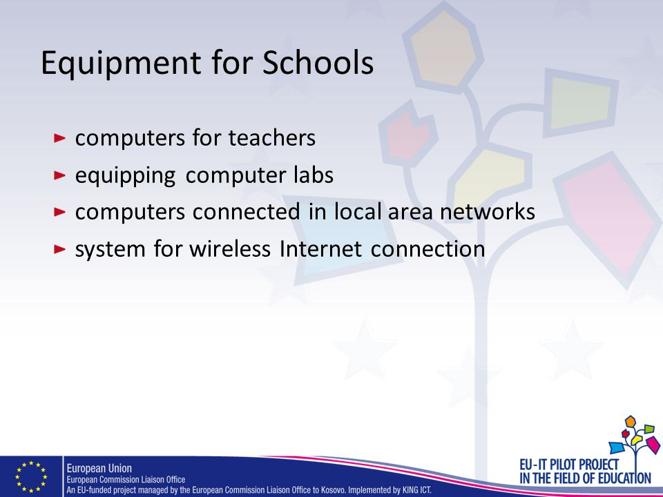 Equipment for Schools computers for teachers equipping computer labs computers connected in local area networks system for wireless Internet connectio