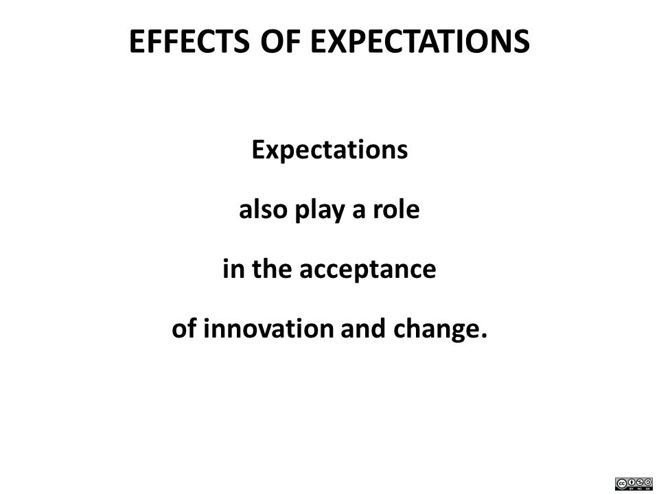 EFFECTS OF EXPECTATIONS Expectations also play a role in the acceptance of innovation and change.