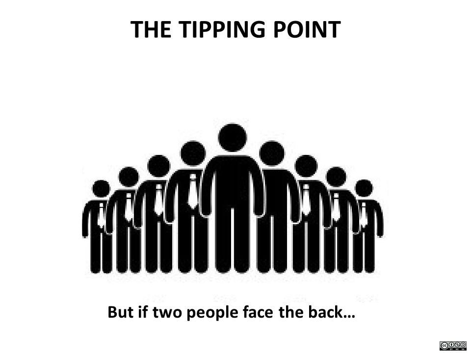 THE TIPPING POINT But if two people face the back…