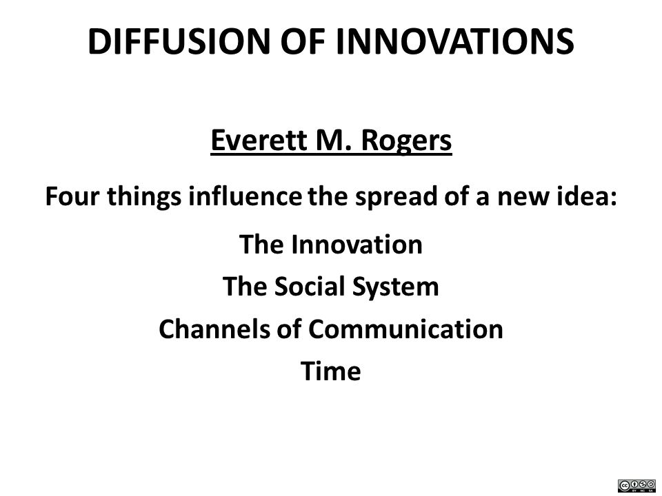 DIFFUSION OF INNOVATIONS Everett M. Rogers Four things influence the spread of a new idea: The Innovation The Social System Channels of Communication