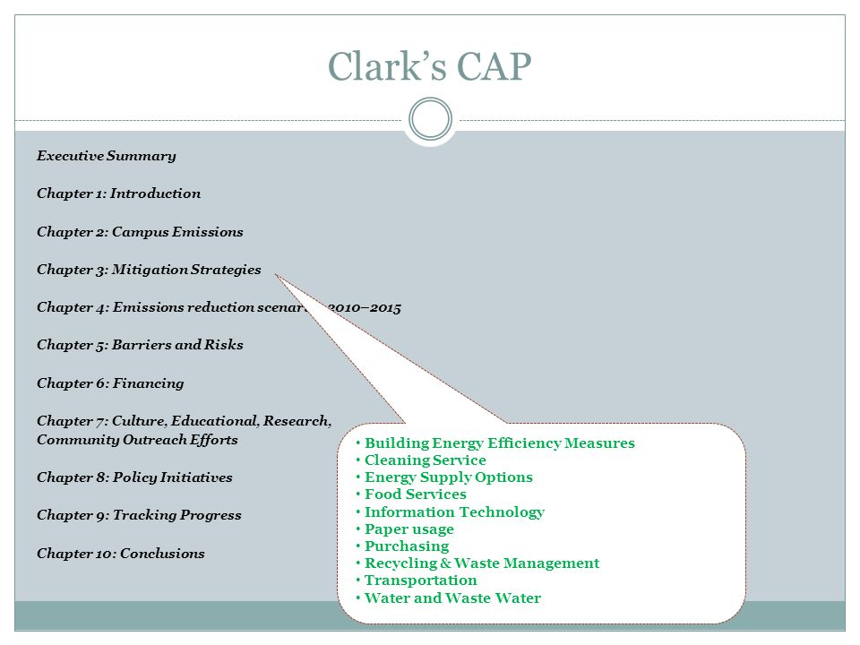 Clarks CAP Executive Summary Chapter 1: Introduction Chapter 2: Campus Emissions Chapter 3: Mitigation Strategies Chapter 4: Emissions reduction scenarios 2010–2015 Chapter 5: Barriers and Risks Chapter 6: Financing Chapter 7: Culture, Educational, Research, Community Outreach Efforts Chapter 8: Policy Initiatives Chapter 9: Tracking Progress Chapter 10: Conclusions Building Energy Efficiency Measures Cleaning Service Energy Supply Options Food Services Information Technology Paper usage Purchasing Recycling & Waste Management Transportation Water and Waste Water