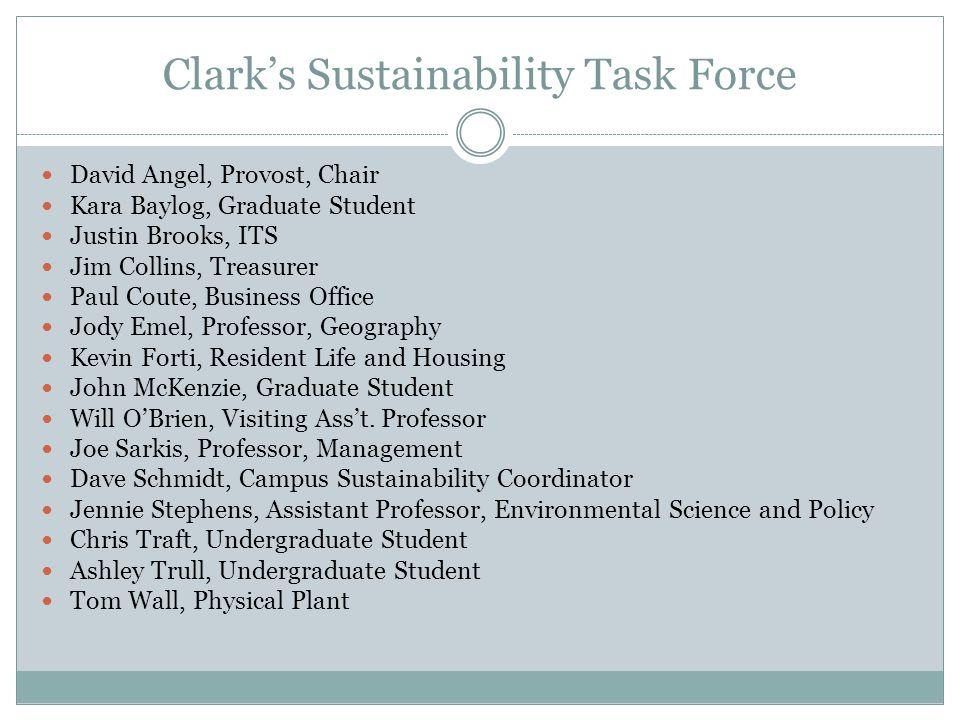 Clarks Sustainability Task Force David Angel, Provost, Chair Kara Baylog, Graduate Student Justin Brooks, ITS Jim Collins, Treasurer Paul Coute, Busin