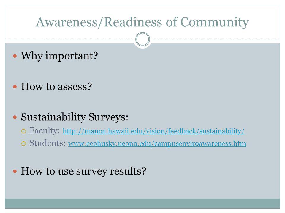 Awareness/Readiness of Community Why important? How to assess? Sustainability Surveys: Faculty: http://manoa.hawaii.edu/vision/feedback/sustainability