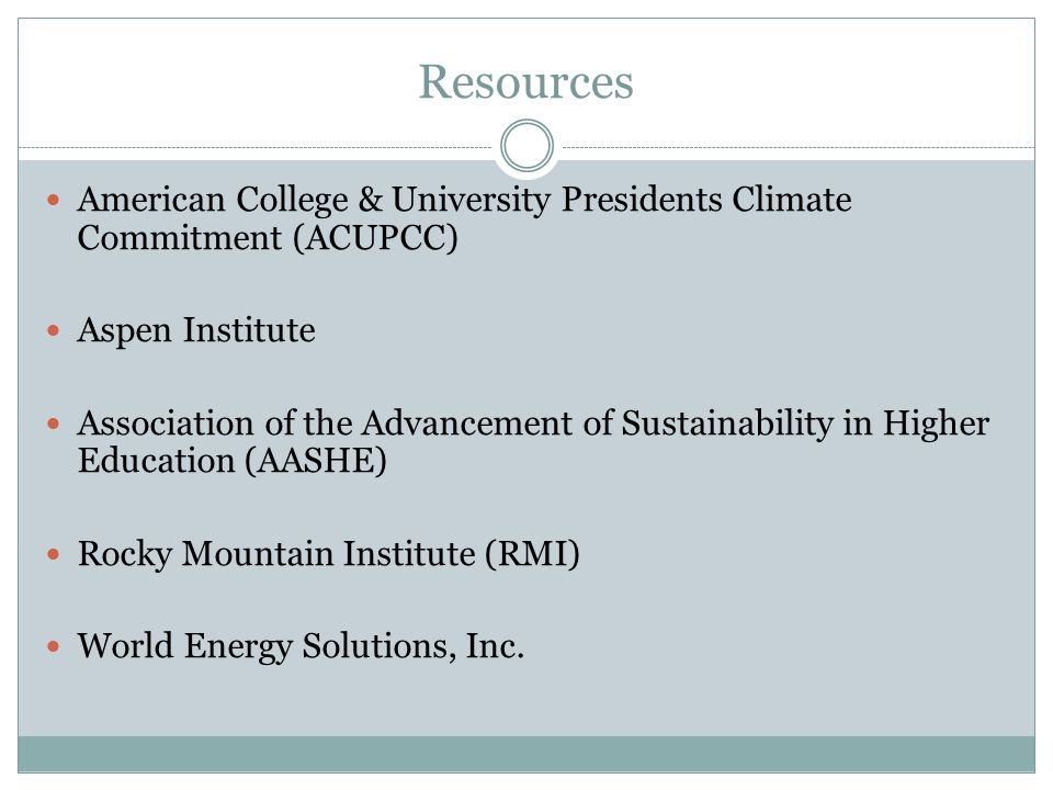 Resources American College & University Presidents Climate Commitment (ACUPCC) Aspen Institute Association of the Advancement of Sustainability in Hig