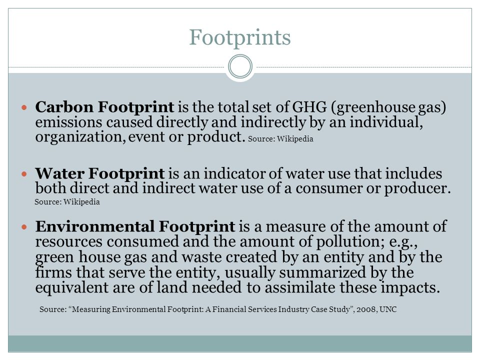 Footprints Carbon Footprint is the total set of GHG (greenhouse gas) emissions caused directly and indirectly by an individual, organization, event or product.