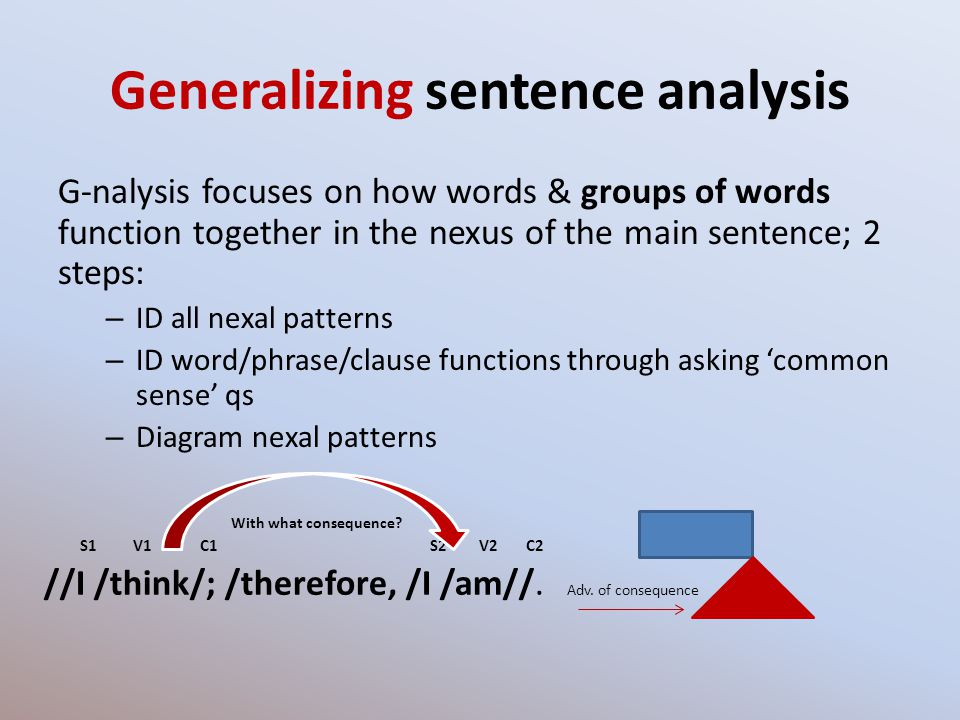 Generalizing sentence analysis G-nalysis focuses on how words & groups of words function together in the nexus of the main sentence; 2 steps: – ID all nexal patterns – ID word/phrase/clause functions through asking common sense qs – Diagram nexal patterns With what consequence.