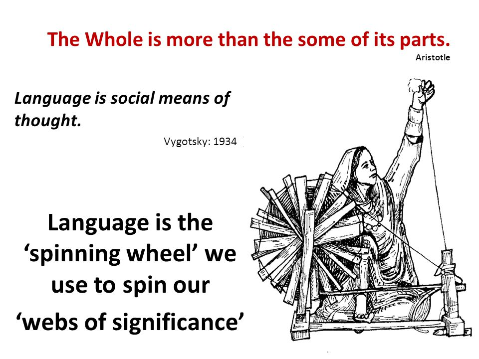 The Whole is more than the some of its parts. Aristotle Language is social means of thought. Vygotsky: 1934 ) Language is the spinning wheel we use to