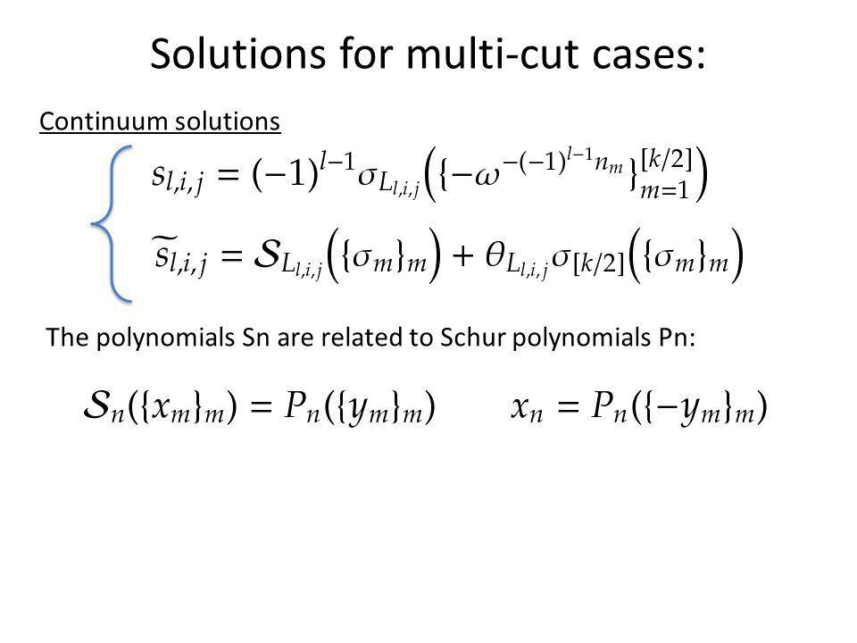 Solutions for multi-cut cases: Continuum solutions The polynomials Sn are related to Schur polynomials Pn: