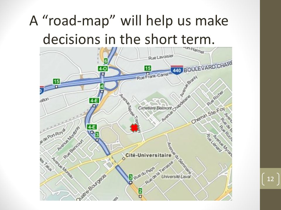12 A road-map will help us make decisions in the short term.