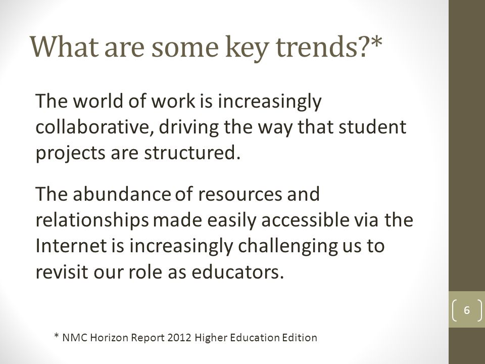 What are some key trends * The world of work is increasingly collaborative, driving the way that student projects are structured.