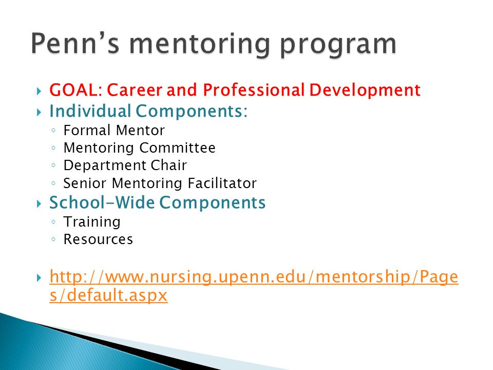 GOAL: Career and Professional Development Individual Components: Formal Mentor Mentoring Committee Department Chair Senior Mentoring Facilitator Schoo