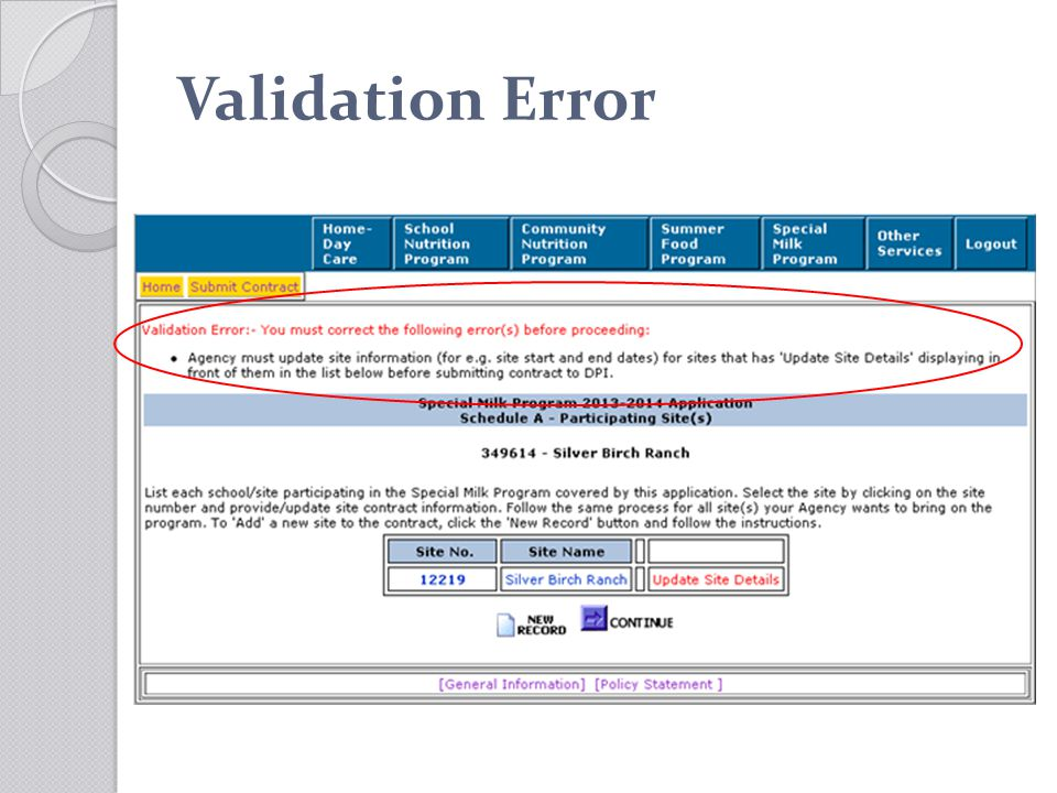 Validation Error
