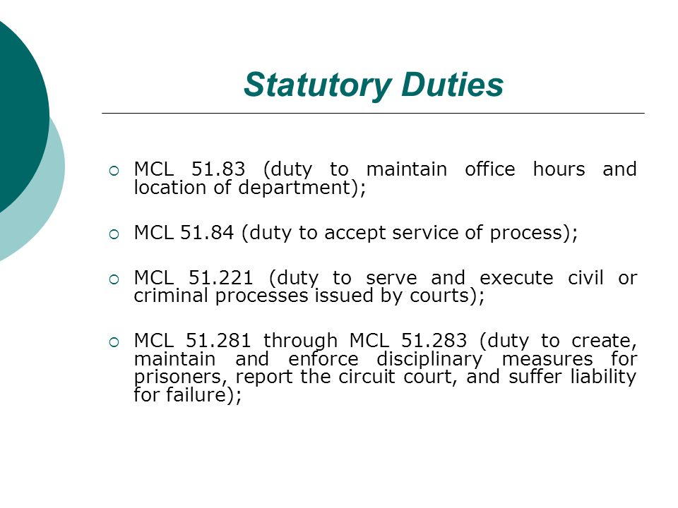 Statutory Duties MCL 51.83 (duty to maintain office hours and location of department); MCL 51.84 (duty to accept service of process); MCL 51.221 (duty to serve and execute civil or criminal processes issued by courts); MCL 51.281 through MCL 51.283 (duty to create, maintain and enforce disciplinary measures for prisoners, report the circuit court, and suffer liability for failure);