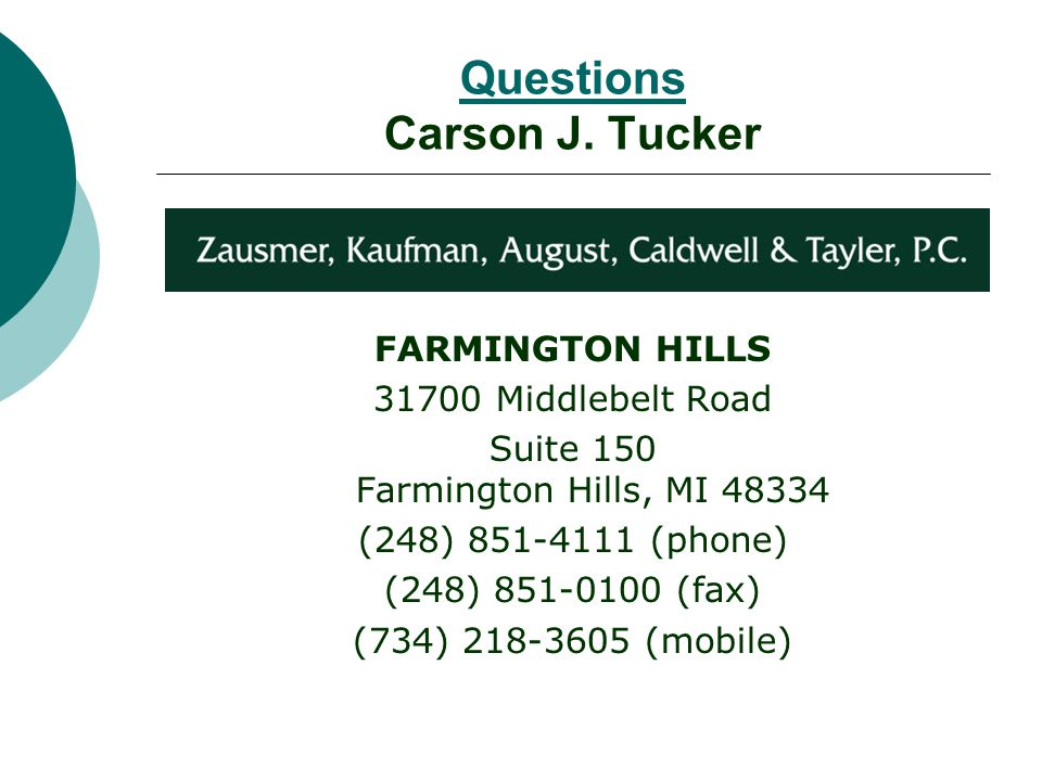 Questions Carson J.