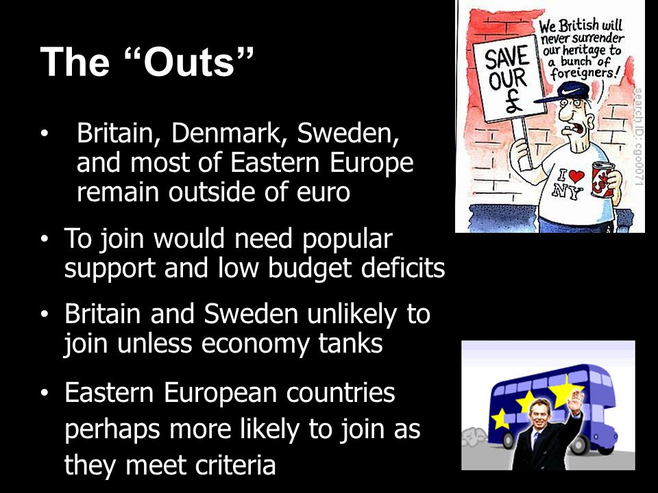The Outs Britain, Denmark, Sweden, and most of Eastern Europe remain outside of euro To join would need popular support and low budget deficits Britai