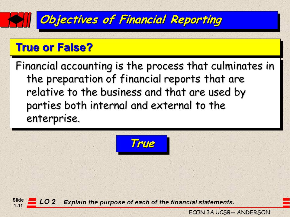Slide 1-11 ECON 3A UCSB-- ANDERSON Financial accounting is the process that culminates in the preparation of financial reports that are relative to th