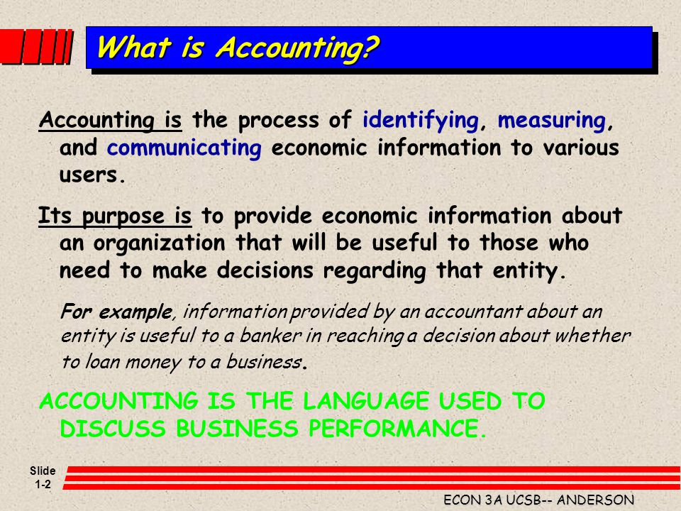 Slide 1-2 ECON 3A UCSB-- ANDERSON What is Accounting? Accounting is the process of identifying, measuring, and communicating economic information to v