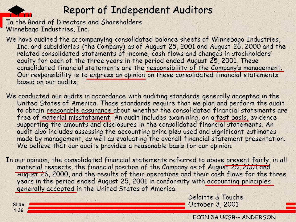 Slide 1-36 ECON 3A UCSB-- ANDERSON We have audited the accompanying consolidated balance sheets of Winnebago Industries, Inc. and subsidiaries (the Co