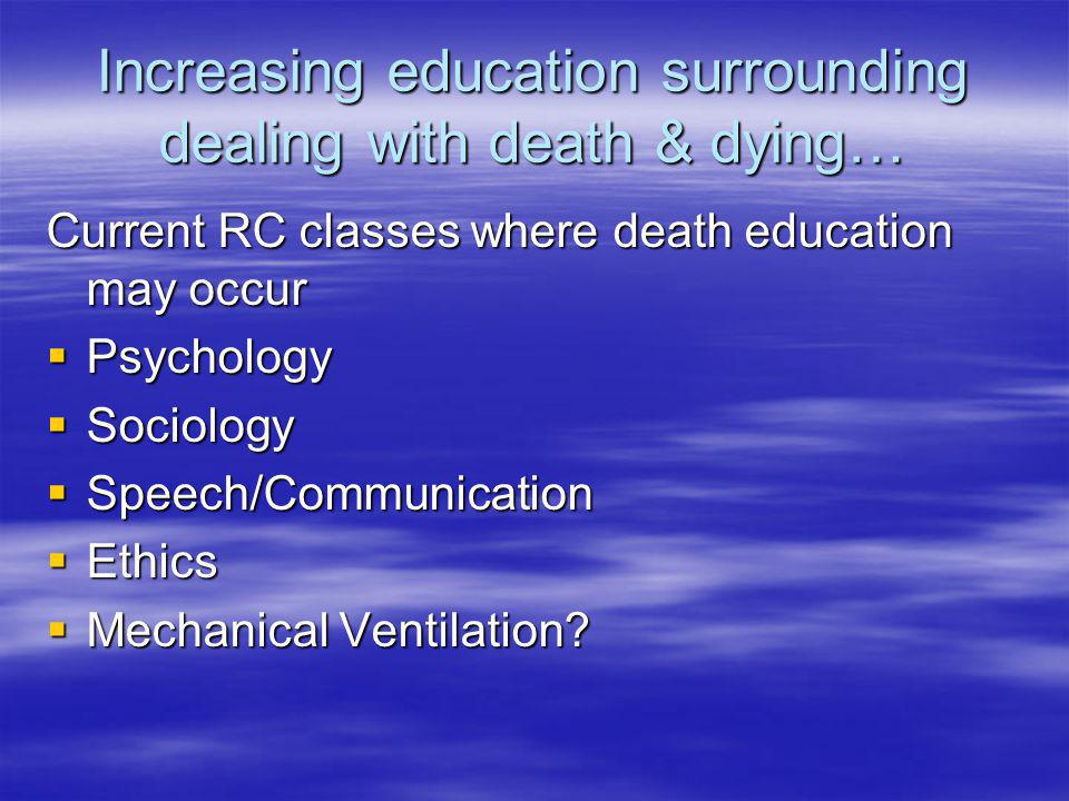 Increasing education surrounding dealing with death & dying… Current RC classes where death education may occur Psychology Psychology Sociology Sociol