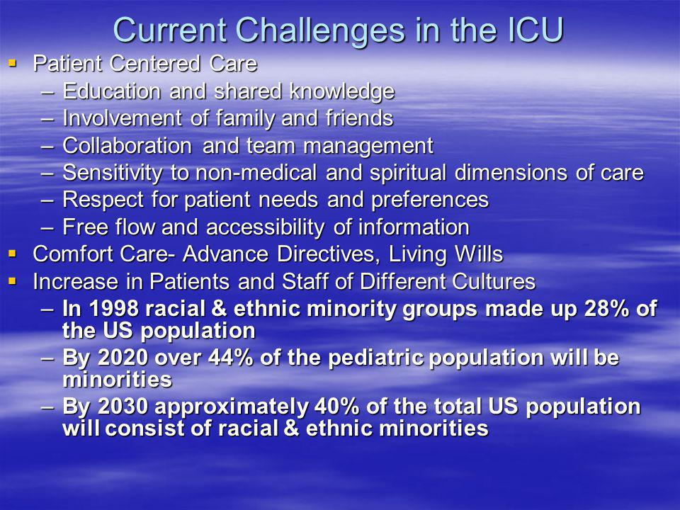 Current Challenges in the ICU Patient Centered Care Patient Centered Care –Education and shared knowledge –Involvement of family and friends –Collabor