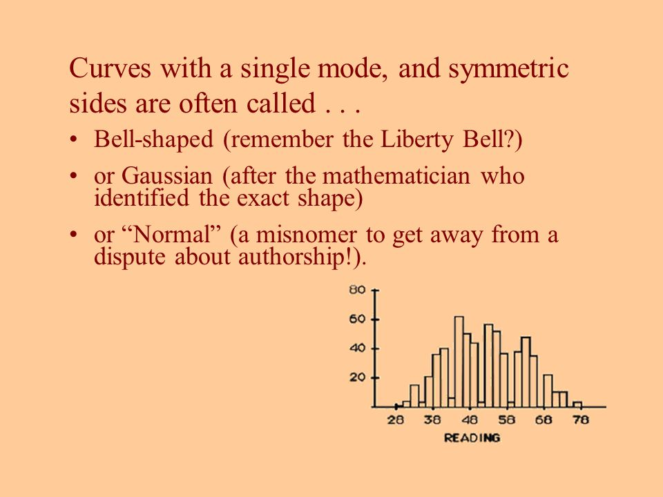 Curves with a single mode, and symmetric sides are often called... Bell-shaped (remember the Liberty Bell?) or Gaussian (after the mathematician who i