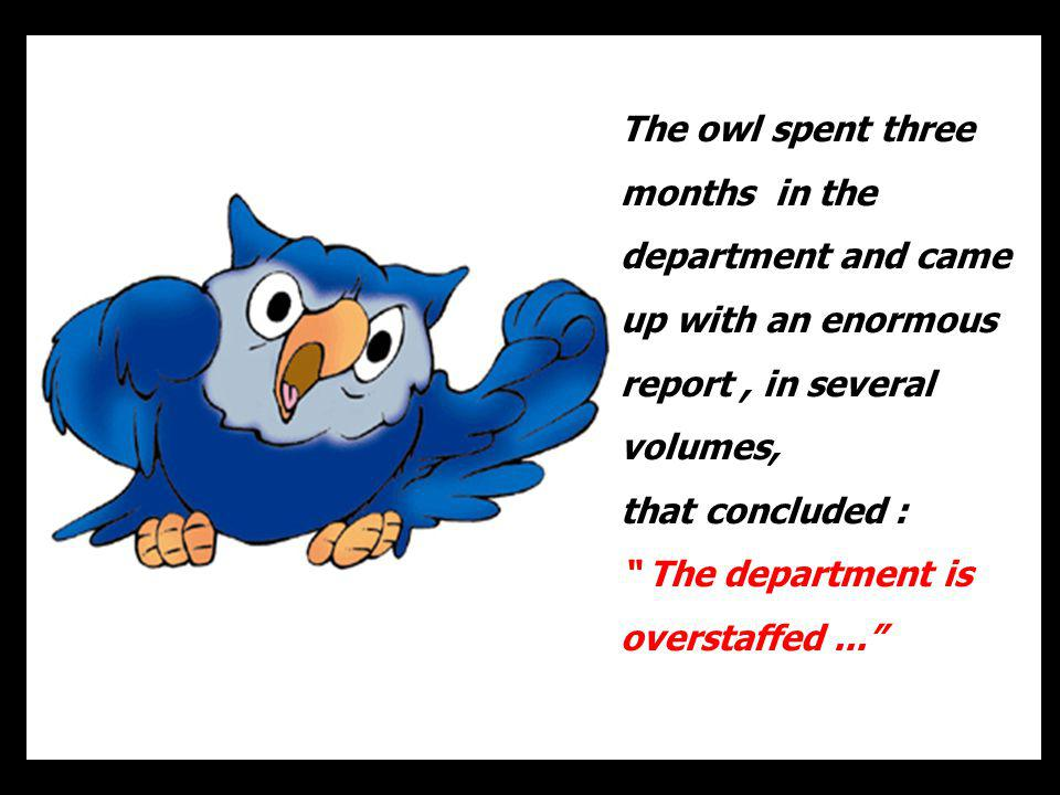 The owl spent three months in the department and came up with an enormous report, in several volumes, that concluded : The department is overstaffed..