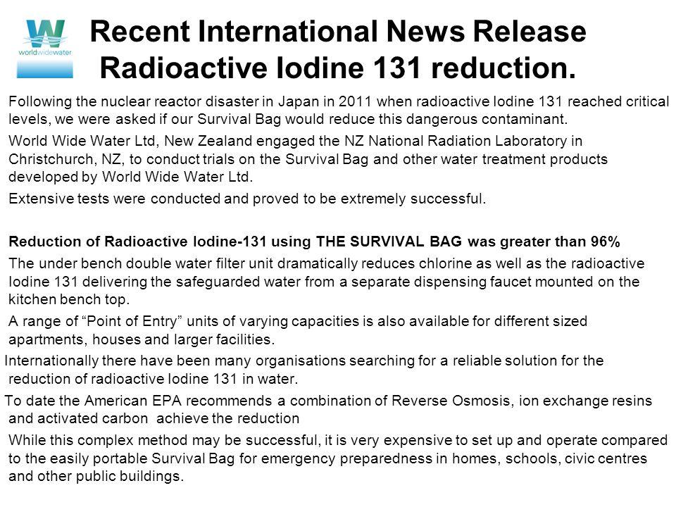 Recent International News Release Radioactive Iodine 131 reduction.
