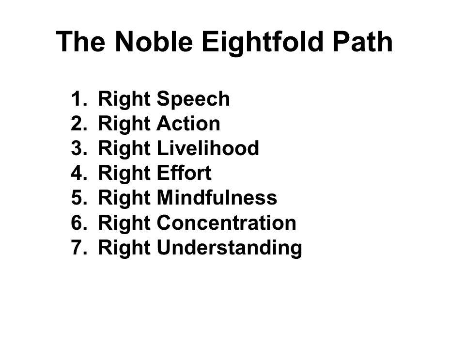The Noble Eightfold Path 1.Right Speech 2.Right Action 3.Right Livelihood 4.Right Effort 5.Right Mindfulness 6.Right Concentration 7.Right Understandi