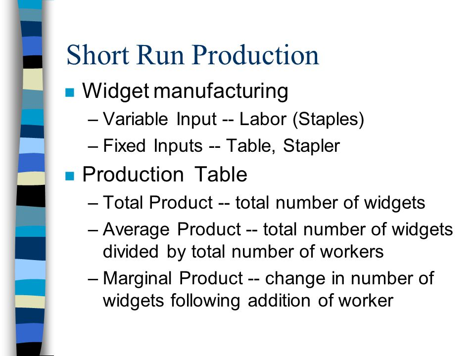 Short Run Production n Widget manufacturing –Variable Input -- Labor (Staples) –Fixed Inputs -- Table, Stapler n Production Table –Total Product -- total number of widgets –Average Product -- total number of widgets divided by total number of workers –Marginal Product -- change in number of widgets following addition of worker