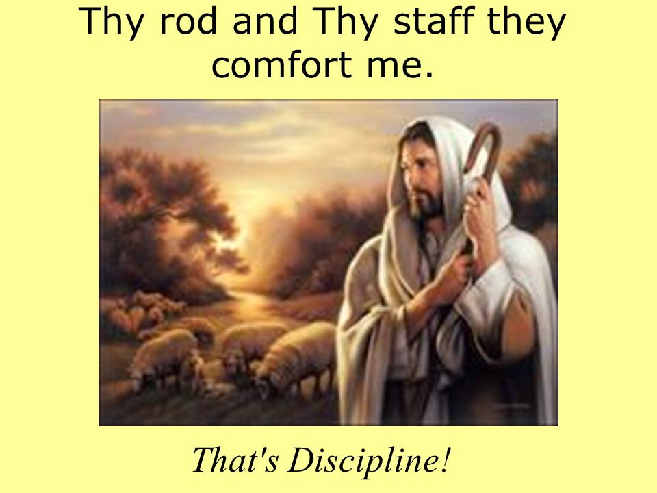 Thy rod and Thy staff they comfort me. That's Discipline!