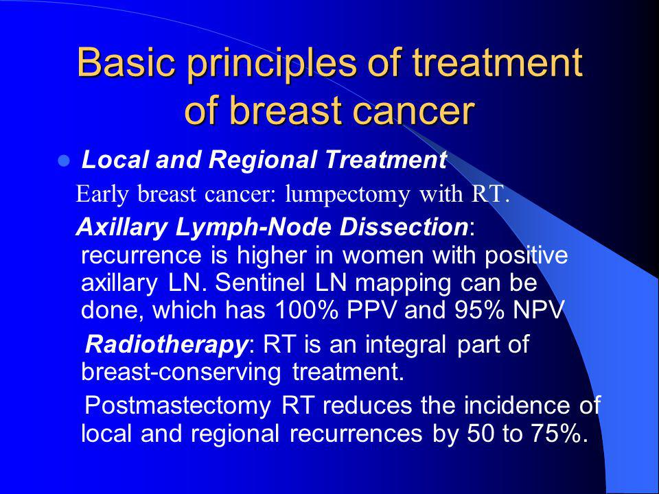 Basic principles of treatment of breast cancer Local and Regional Treatment Early breast cancer: lumpectomy with RT.