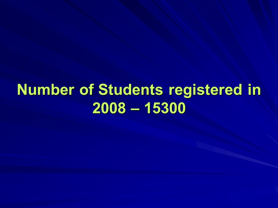 Number of Students registered in 2008 – 15300