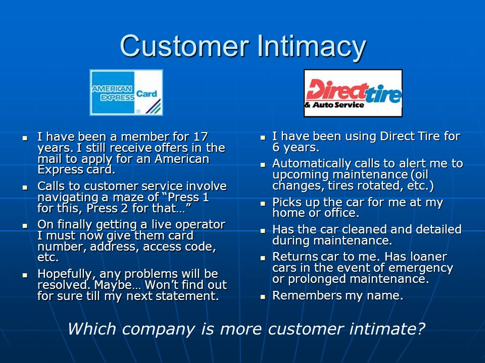 Customer Intimacy I have been a member for 17 years. I still receive offers in the mail to apply for an American Express card. I have been a member fo