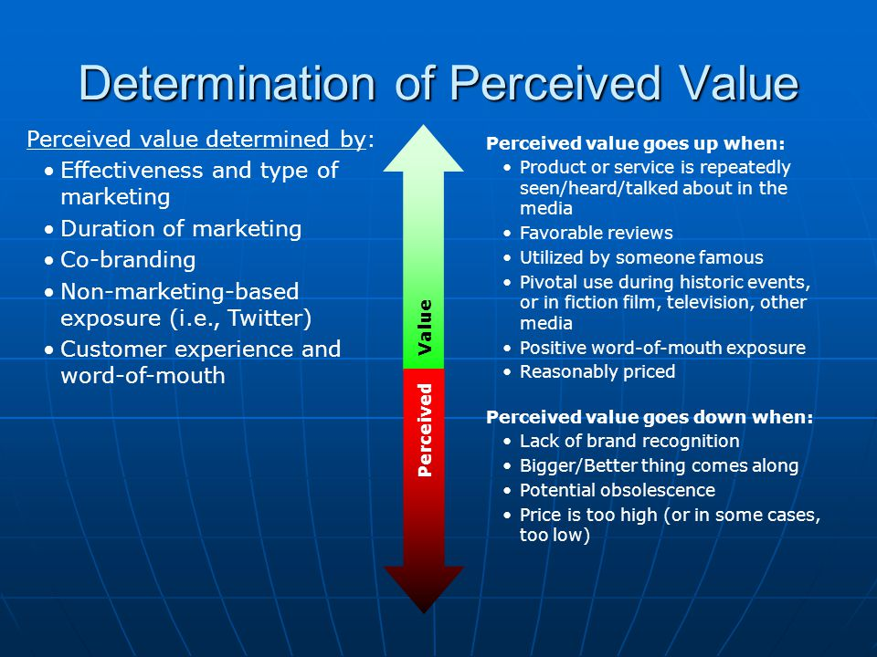 Determination of Perceived Value Perceived Value Perceived value determined by: Effectiveness and type of marketing Duration of marketing Co-branding