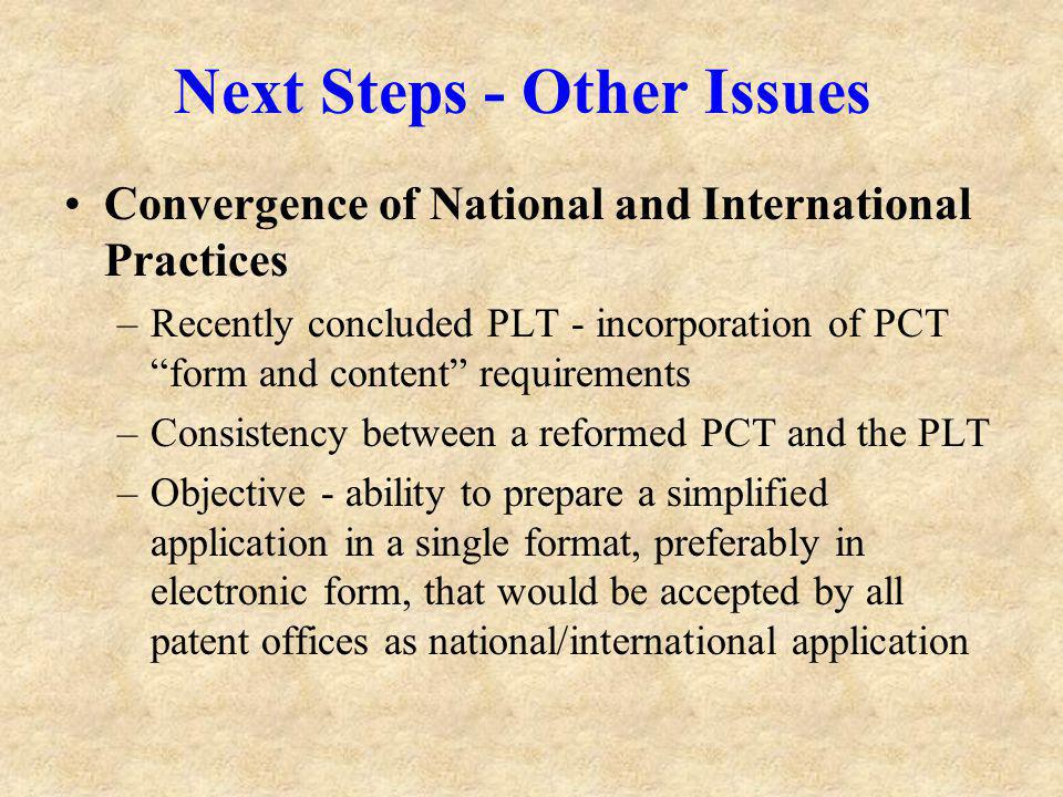 Next Steps - Other Issues Convergence of National and International Practices –Recently concluded PLT - incorporation of PCT form and content requirements –Consistency between a reformed PCT and the PLT –Objective - ability to prepare a simplified application in a single format, preferably in electronic form, that would be accepted by all patent offices as national/international application