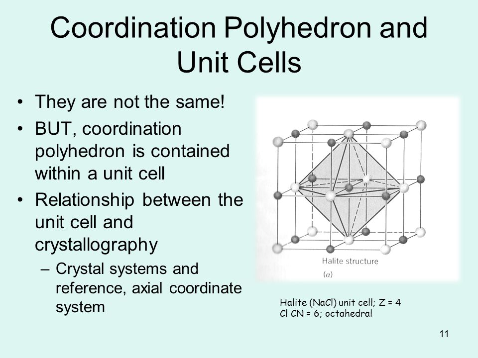 11 Coordination Polyhedron and Unit Cells They are not the same! BUT, coordination polyhedron is contained within a unit cell Relationship between the