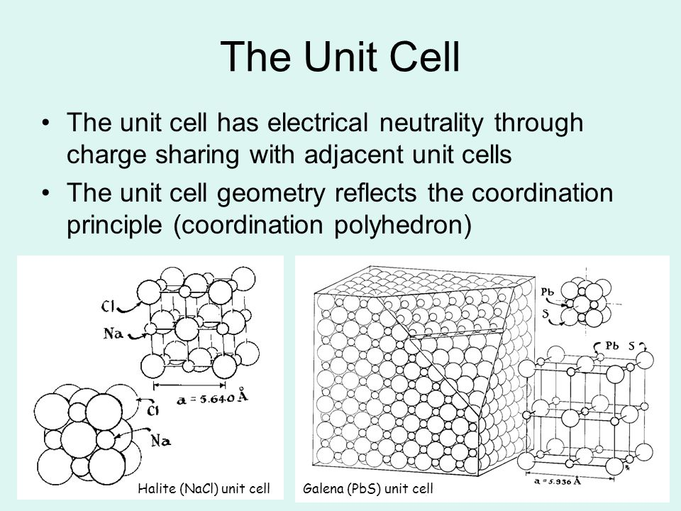 4 The Unit Cell The unit cell has electrical neutrality through charge sharing with adjacent unit cells The unit cell geometry reflects the coordinati